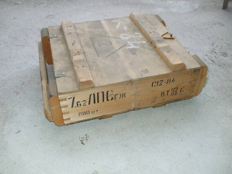 Wooden crate of military surplus 7.62x54mmR ammunition.
