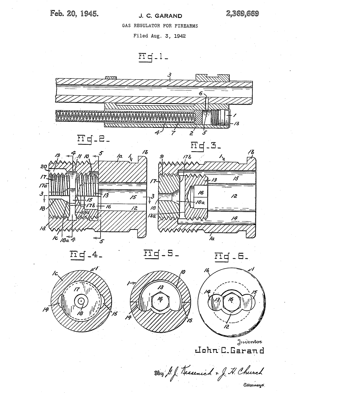 U.S. Patent 2,369,669 drawing of John Garand's venting gas screw for the M1 rifle.