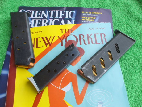 Magazine for the M1911 pistol, the FEG PA-63 pistol, and the ČZ-52 pistol, and issues of 'Scientific American' and 'The New Yorker'.