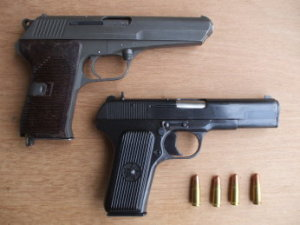 CZ52 and TT-33 (TTC33) pistols in 7.62x25mm.